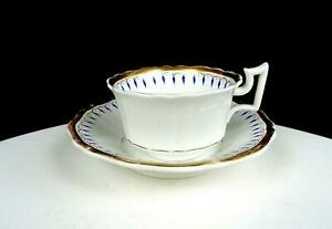 ROCKINGHAM WORKS OLD ENGLISH SHAPE BLUE DARTS & GOLD 2 1/8 CUP & SAUCER 1825-30