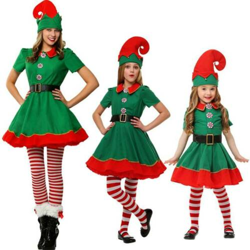 Adult Kids 3D Elf Print Family Cosplay Costume Outfit Women Girl Dress