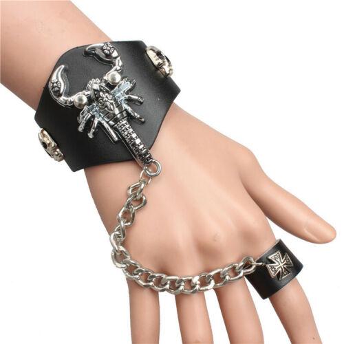 Quality Punk Black Leather Alloy Scorpion Skull Cross Cuff Bracelet Bangle Ring
