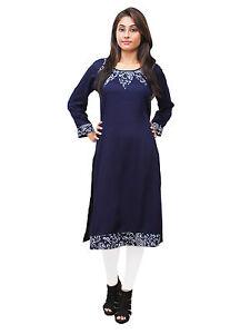 Vipakshi Women's Blue Printed Rayon Kurti (RS-7900 D)