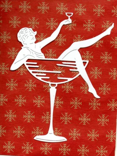 XMAS//PARTY NEW TATTERED LACE LADY IN COCKTAIL GLASS DIE CUTS TOPPER-ART DECO