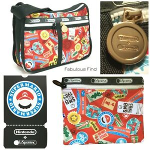 LeSportsac-Nintendo-Mario-Travel-Deluxe-Everyday-Bag-Free-Ship-NWT-Super-Mario