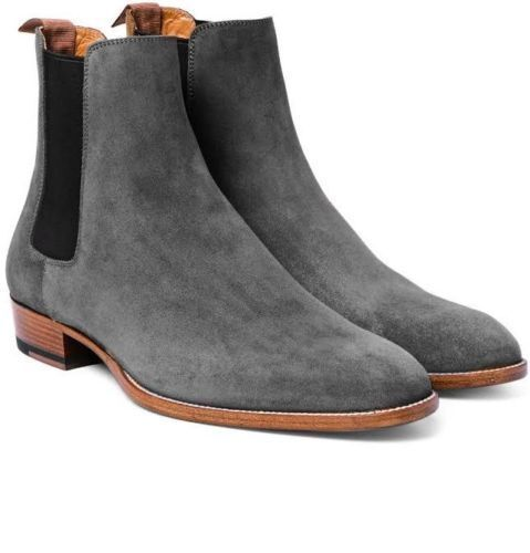 MENS NEW HANDMADE GENUINE SUEDE LEATHER HIGH CHELSEA GREY HUNTER ANKLE HIGH LEATHER BOOTS eb2b55