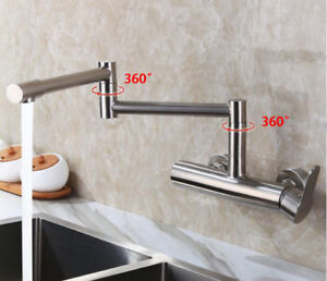 Wall Mounted Kitchen Sink Faucet Mixer Flexible Folding Spout Tap Brushed Nickel Ebay