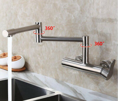 Surprising Wall Mounted Kitchen Sink Faucet Mixer Flexible Folding Spout Tap Brushed Nickel Ebay Complete Home Design Collection Epsylindsey Bellcom