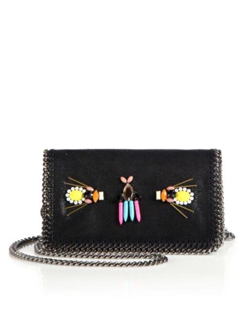 NWT Stella McCartney Falabella Embroidered Faux Suede Chain Clutch Shoulder  Bag f74e719b6183e