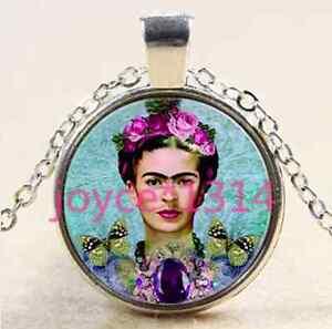 Frida-Kahlo-Cabochon-Tibetan-silver-Glass-Chain-Pendant-Necklace-XP-2385