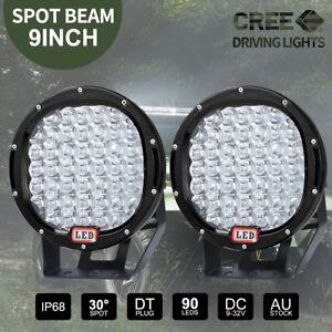 Pair-9-inch-CREE-LED-SPOT-Driving-Lights-4X4-Round-Spotlights-Black-12V-99999W