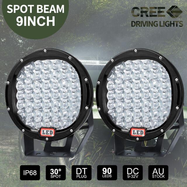Pair 9 inch CREE LED SPOT Driving Lights 4X4 Round Spotlights Black 12V 99999W