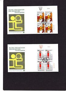 """2 UNO Wien 4 er Block FDC`s  Mi.Nr. """" 17 + 18 """" vom 06.03.1981, siehe Scan"""