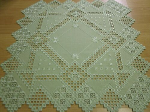 Tischdecken Hardanger Handarbeits Decke 60x60cm.