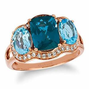 LeVian 14K Rose Gold Cushion Cut London Blue Topaz & 1/3 CTTW Diamond Halo Ring