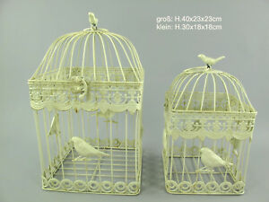 Antico Decorazione Gabbia per Uccelli 2er-Set IN Metallo Piante Fiori
