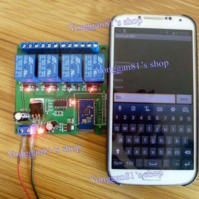 12V 4 Channel Bluetooth Relay Android Mobile Remote control Switch for Motor LED