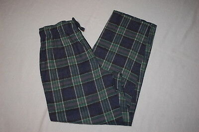 Mens Flannel Pajama Pants BLUE BLACK WHITE PLAID Pockets LOUNGE Size XL 40-42