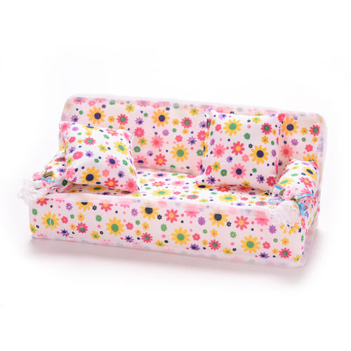 3Pcs//set Mini Dollhouse Furniture Flower Printing Cloth Sofa Couch/&2 Cushions Pr