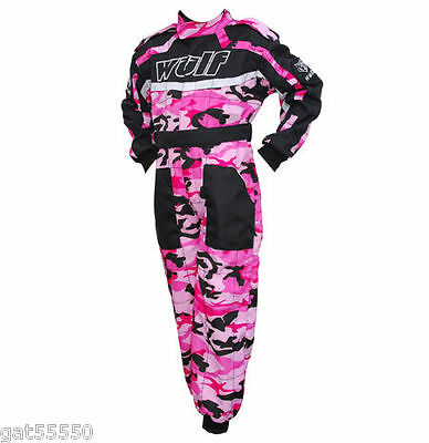 Kids Blue Wulfsport Race Suit Overalls Motocross Go-karting Youth Child Wulf