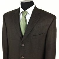 JOSEPH FEISS Mens 44 S/R Brown Houndstooth Lambswool 3-Button Sport Coat/Jacket