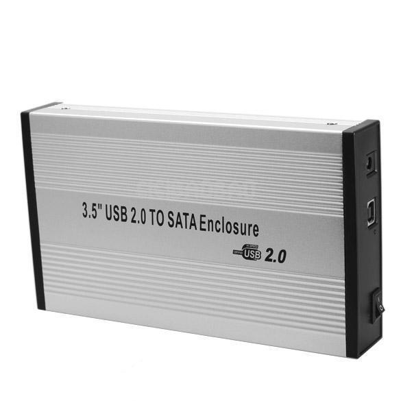 "3.5"" SATA HDD External Case Enclosure 3.5 inch USB 2.0 HDD Hard Drive Disk #gib"