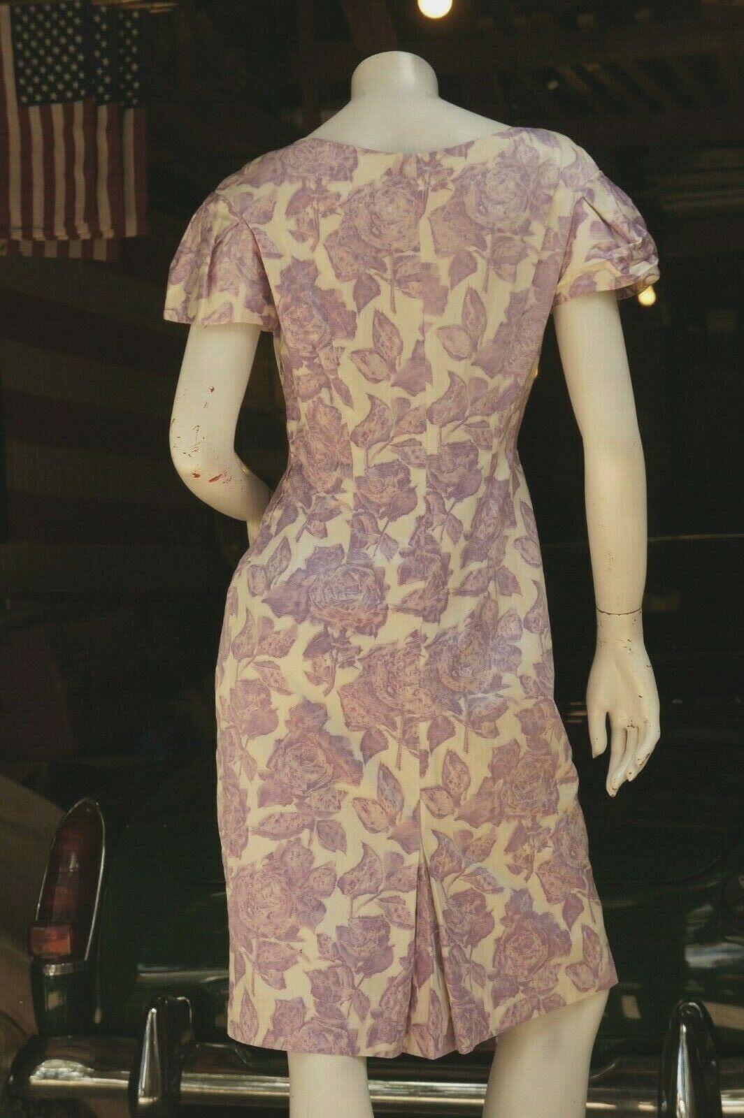 Vintage 50s Purple Floral Rose Print Dress Midi … - image 2