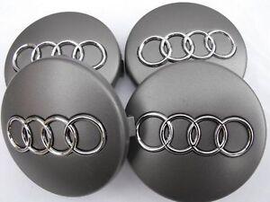 4x-AUDI-60mm-Nabendeckel-Felgendeckel-Nabenkappen-GRAU-GRAY-SILVER-4B0601170