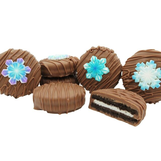 Philadelphia Candies Winter Snowflake Asst Milk Chocolate Covered Oreo Cookies
