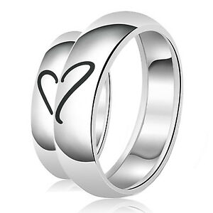 Sterling-Silver-925-7MM-His-amp-5MM-Hers-Couples-Hearts-Matching-Wedding-Set-Bands