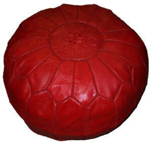 Phenomenal Details About Pouf Moroccan Hassock Pooff Leather Genuine Ottoman Footstool Large Red Machost Co Dining Chair Design Ideas Machostcouk