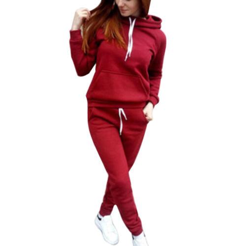 2tlg Damen Trainingsanzug Hoodie Pullover Kapuze Tops Hose Set Sport Sweatsuit