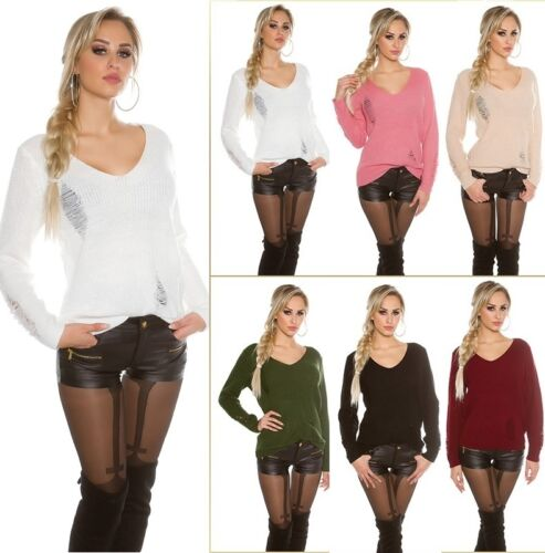 KOUCLA Pullover Maglione Pullover A Maglia Destroyed look SWEATER