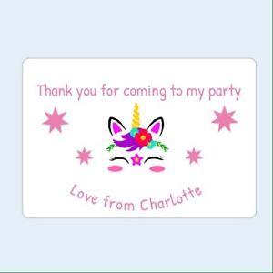 12 Pegatinas Personalizado Unicornio 50mm Cumpleaños Fiesta Sellos gracias