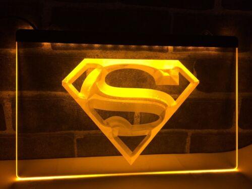 Superman LED Neon Bar Sign Home Light Up Drink Pub Super man clark kids night