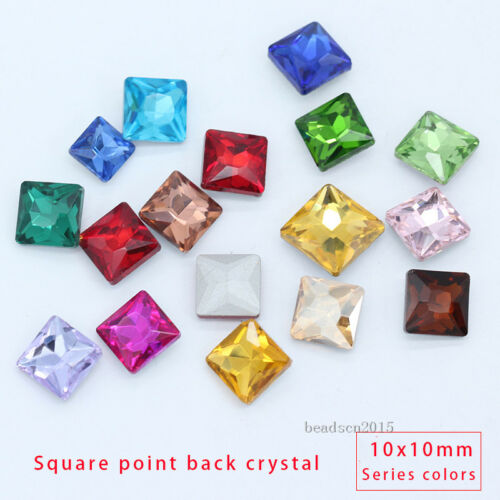 30p 10mm square point back faceted crystal glass foiled diamante rhinestone Gem