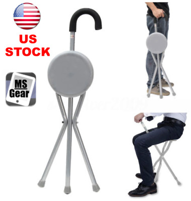 Outdoor Travel Folding Stool Cane Chair Portable Tripod