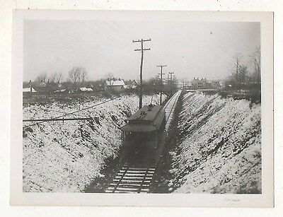 YORK RAILWAYS Trolley in Snow near DALLASTOWN PA 1935 Pennsylvania Photograph