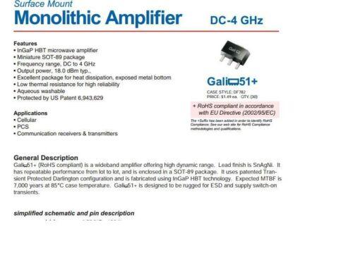 4000 MHz RF//MICROWAVE WIDE BAND LOW POWER AMPLIFIER Mini 0 MHz 5x GALI-51