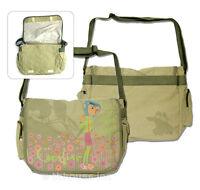 Coraline Messenger Bag Cotton Canvas Pastel Flowers Grn Licensed Neca W/tag