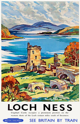 TU62 Vintage Loch Ness Urquhart Castle Railway Travel Poster Print A2/A3