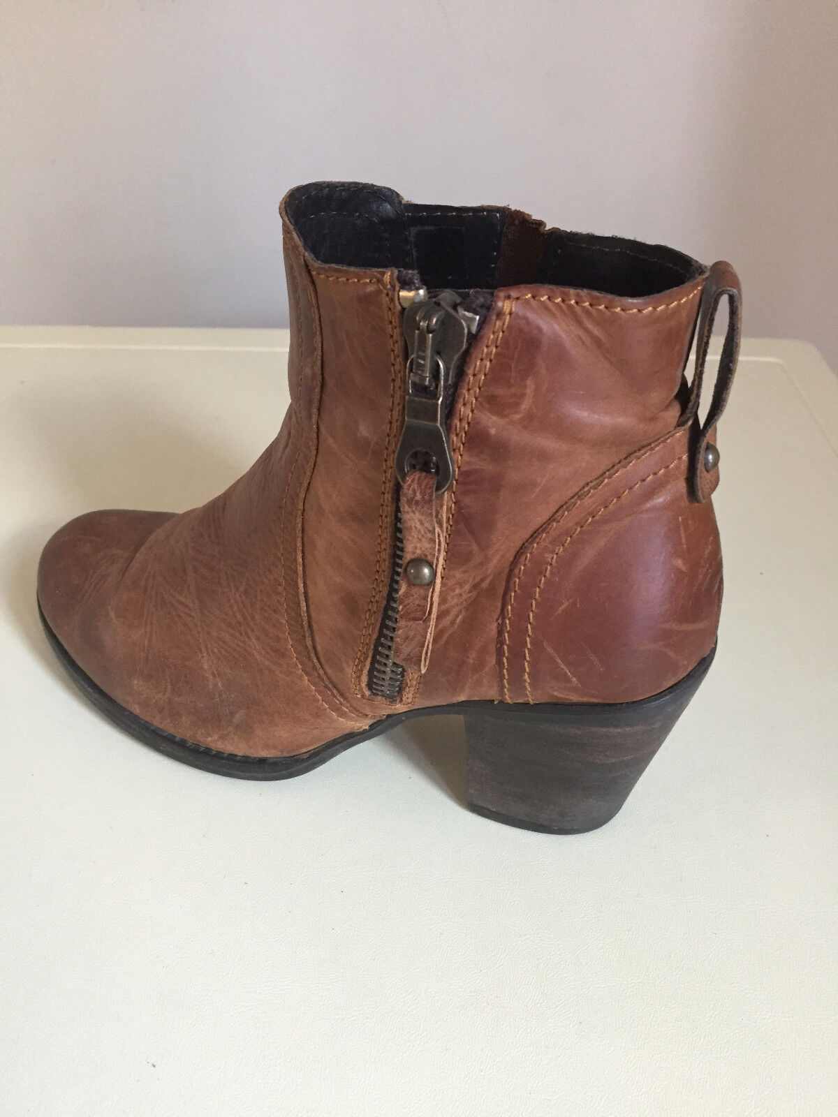 femmes Moda in Pelle Tan Leather Distressed  Ankle bottes Taille EU 38