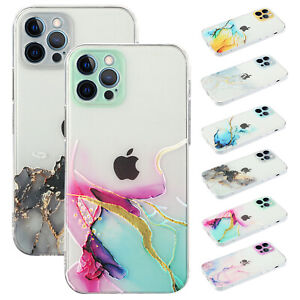For iPhone 12 Pro Max 11 XS XR 8 7 Plus Hybrid Marble Pattern Rubber Case Cover