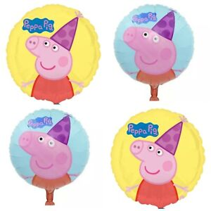 Details About Peppa Pig George 4 X Balloons Cartoon Helium Party Birthday Favours Disney Mix