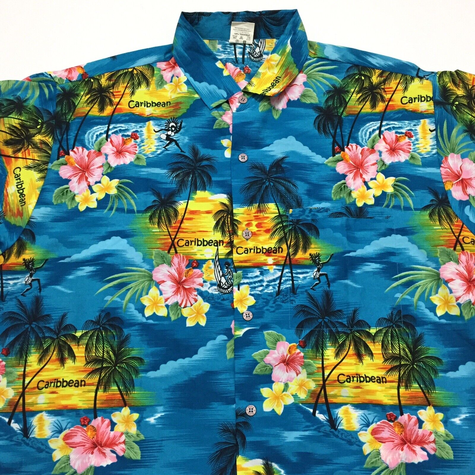 Beach Wedding Abstract Geometric Pattern Hawaiian Style Men/'s Shirt Cruise Vacation Islands Soft and Silky Caribbean Blue and White