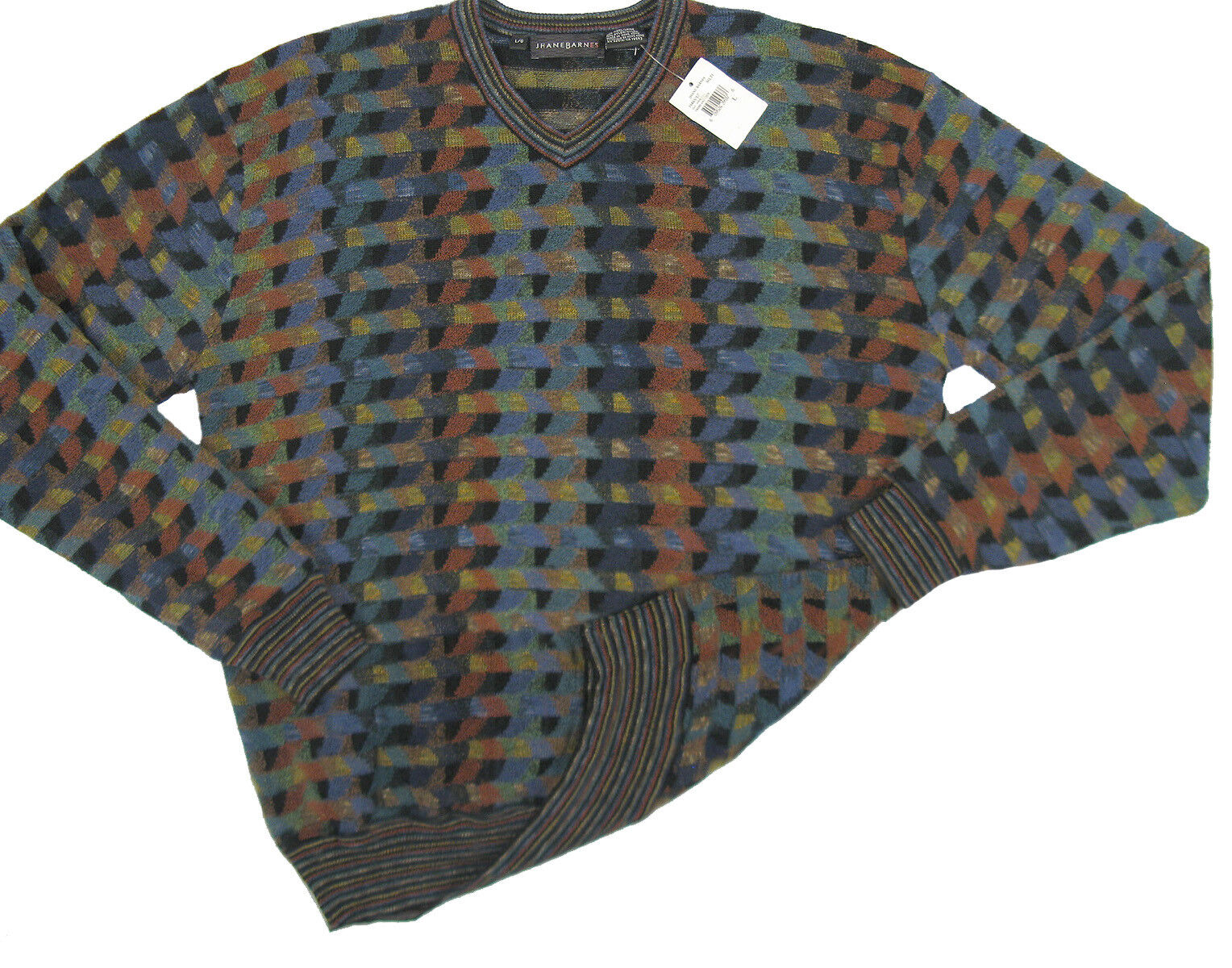 NEW  295 Jhane Barnes Fine Geometric Pattern Sweater   XL  Fall / Winter Weight