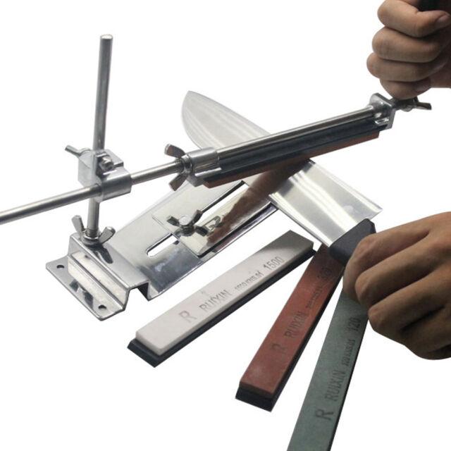 Professional Knife Sharpener Tools System Kitchen Fix-angle Sharpening+4 Stones