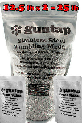 "25 Pounds Stainless Steel Tumbling Media Pins 25lb .047"" x .255"" 1.19mm x 6.48mm"