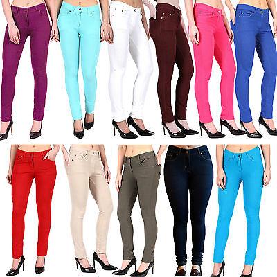 WohltäTig New Ladies Women & Girls Stretch Denim Look Skinny Jeggings Leggings With Zip