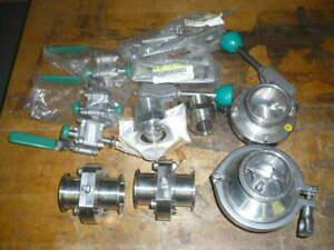 Alfa Laval Tri Clover sanitary butterfly valves, ball valves, fittings, lot