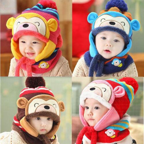 Hot Hat Winter Boys Girls Toddler Hats Scarf Set Monkey Warm Cap for Children