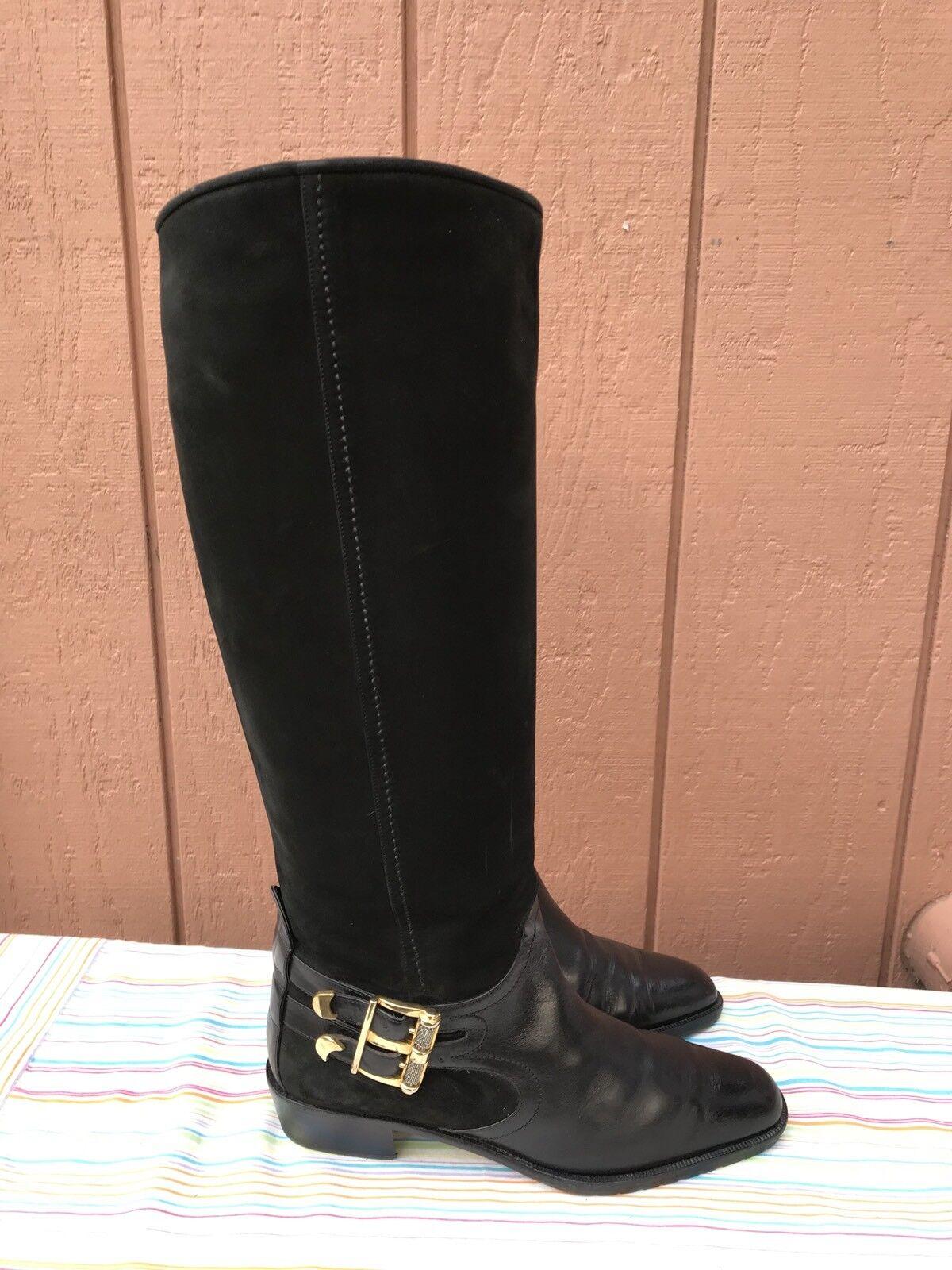 prendiamo i clienti come nostro dio RARE Via Spiga Knee High Riding stivali stivali stivali nero Suede & Leather Dimensione US 7.5 B  650  articoli promozionali