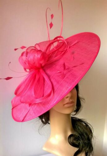 Hot pink Sinamay /& feather Hatinator..Large oval saucer disc Wedding.races.